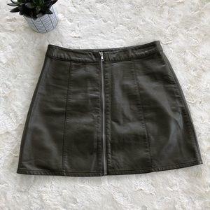Forever 21 Olive green vegan leather skirt/large